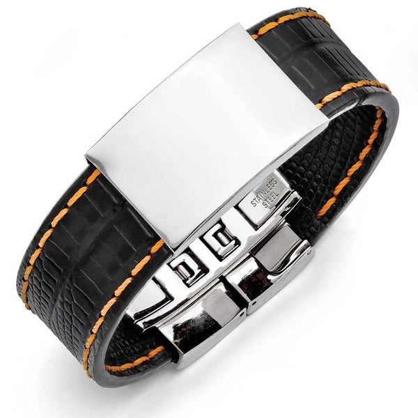 Chisel Stainless Steel Shiny Polished Plate Black with Orange Stitching Bracelet