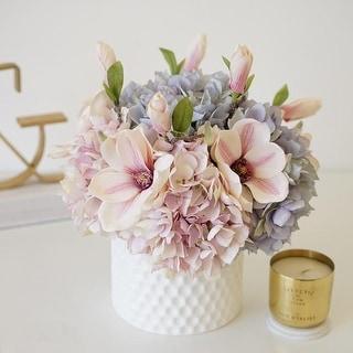Mademoiselle Pink Blue Hydrangeas Magnolia Floral in Ceramic Vase - Purple