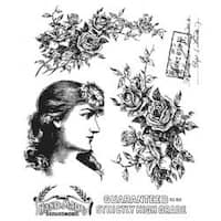 """Lady Rose - Tim Holtz Cling Stamps 7""""X8.5"""""""