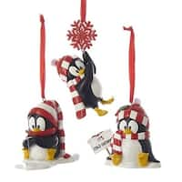 Club Pack of 12 Black and White Glittered Penguins with Scarfs Ornaments 3""