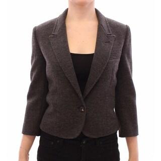 Dolce & Gabbana Gray Wool One Button Jacket Blazer Coat - it40
