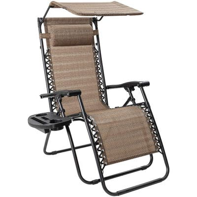 Homall Zero Gravity Chair Patio Lawn Chair Lounge Chair Folding Recliner Adjustable Outdoor with Canopy Shade and Cup Holder