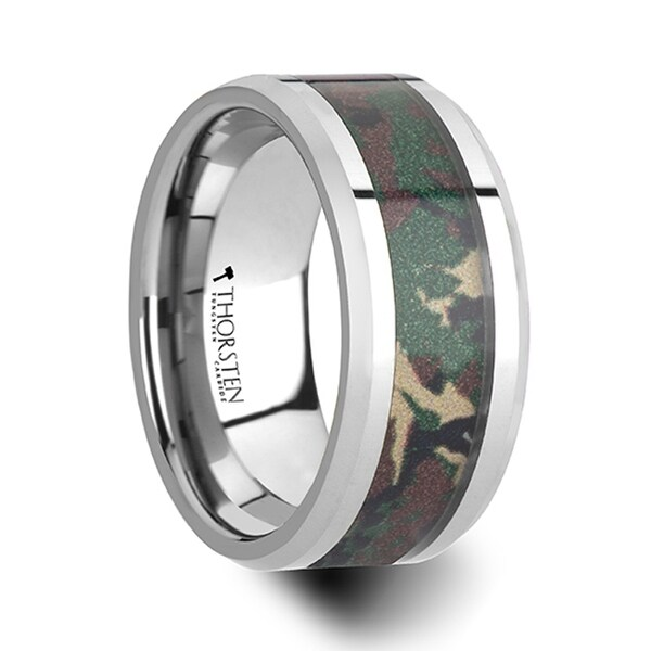 THORSTEN - COMMANDO Tungsten Wedding Ring with Military Style Jungle Camouflage Inlay - 10 mm