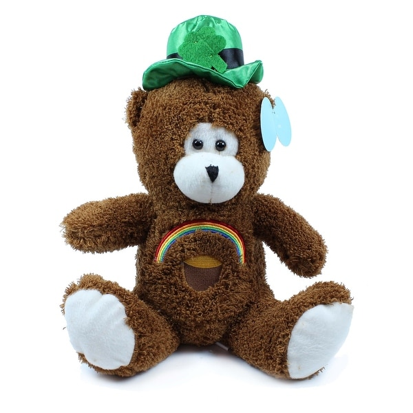 Beverly Hills Teddy Bear Co. St. Patrick's Day Brown Bear with Rainbow