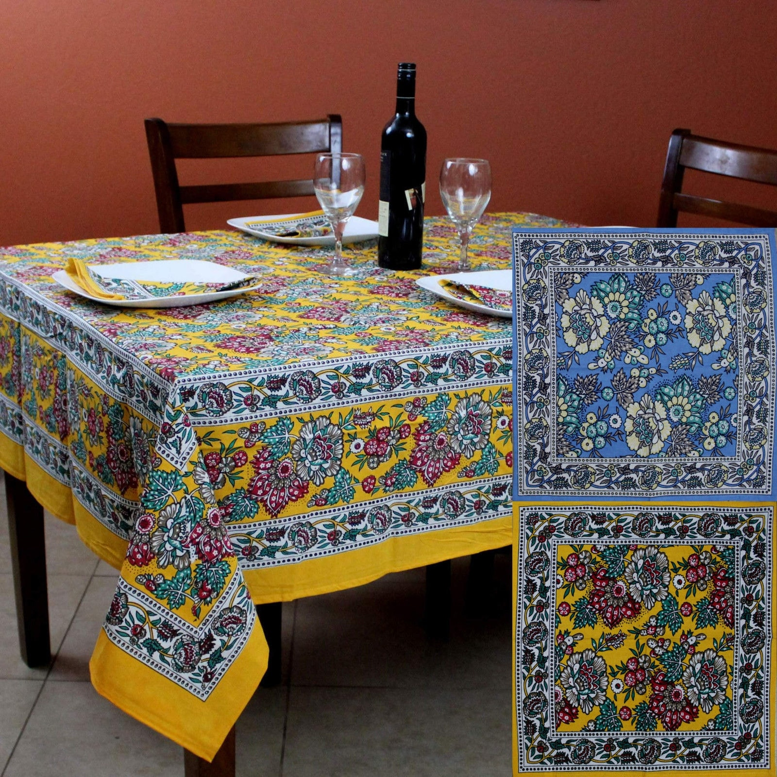 Cotton French Country Fl Tablecloth Square 72 X Inches Table Linen