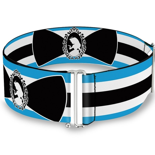 Alice In Wonderland Stripe Bow Silhouette Blue Black White Cinch Waist Belt ONE SIZE