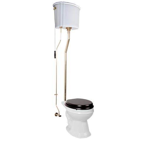 Renovator's Supply White High Tank Toilet, Round Bowl, Brass L-Pipe