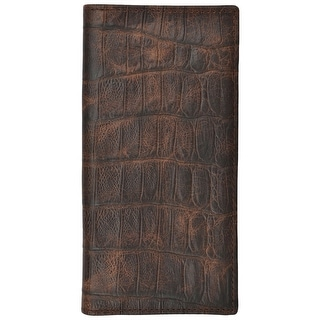 3D Western Wallet Mens Basic Rodeo Gator Checkbook Cognac W236 - One size