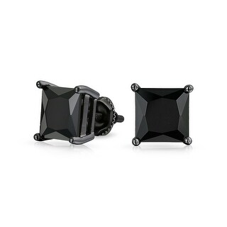 Bling Jewelry Black Square CZ Screw Back Stud earrings 925 Sterling Silver 9mm