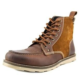Crevo Elk Men Round Toe Leather Brown Boot