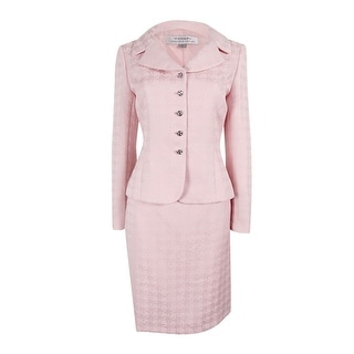 Tahari Women's Petite Notched Collar Jacquard Skirt Suit - Blush Pink - 8P