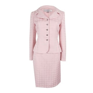 Tahari Women's Petite Notched Collar Jacquard Skirt Suit - Blush Pink
