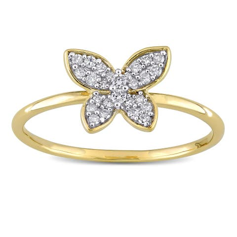 Miadora 10k Yellow Gold 1/8ct TDW Diamond Cluster Butterfly Ring