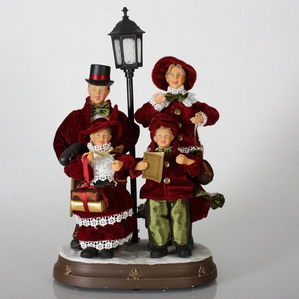 Lighted Musical Silent Night Victorian Choir Family Christmas Table Top Figure - PURPLE