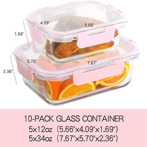 10 Pack Glass Meal Prep Containers, Food Storage Containers Lids Airtight, Glass Microwave, Oven, Freezer and Dishwasher Safe
