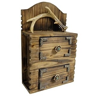 DeLeon Collections 9.6 x 6.25 x 15.5 in. Antler Wood Wall Chest Decor