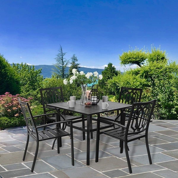 PHI VILLA Metal Outdoor Patio Dining Set, Table and 4 Chairs Set of 5. Opens flyout.