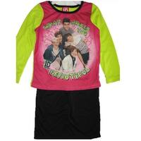 1D Girls Pink Green Black One Direction Band Print 2 Pc Pajama Set 8-10