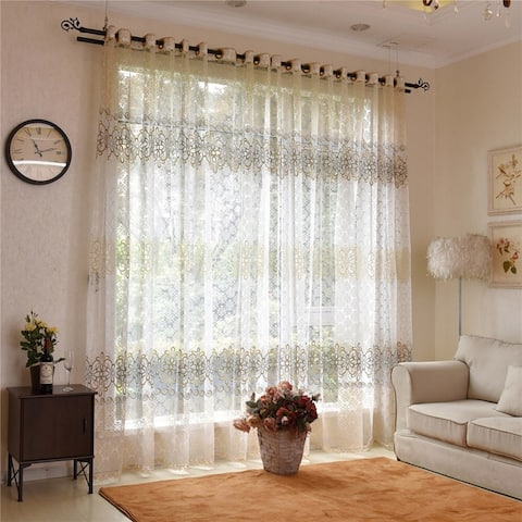Modern Romantic Floral Sheer Tulle Window Door Curtains Window Drapes Home Decoration for Living Room Bedroom