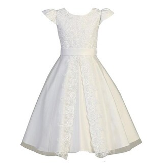 Swee Pea & Lilly Big Girls White Lace Satin Tea-Length Communion Dress