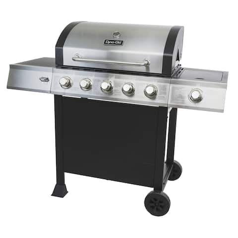 """Dyna-Glo DGB515SDP-D 60000 BTU 24"""" Wide Free Standing 5 Burner Liquid Propane Grill with Side Burner - - Stainless/Black"""
