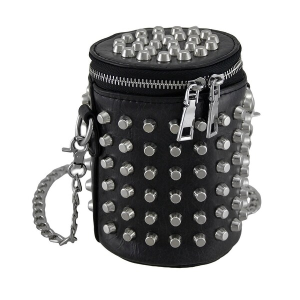 Punk Rock Roll Chrome Studded Black Cylinder Biker Bag w/Removable Chain Strap