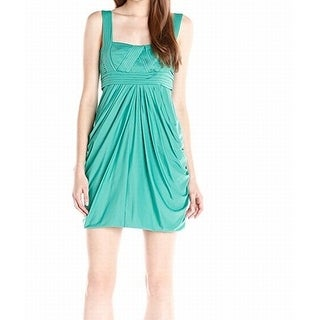 BCBG Max Azria NEW Green Womens Size XS Ruched Empire Waist Dress