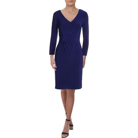 Lauren Ralph Lauren Womens Bethy Scuba Dress Faux Wrap Long Sleeves