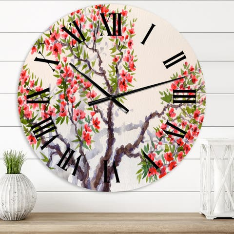 Designart 'Red Flowers On The Blossoming Tree II' Traditional wall clock
