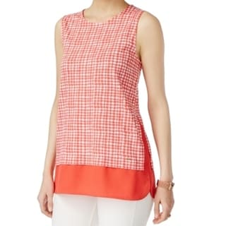 Tommy Hilfiger NEW Red Women's Size XL Printed Layered Tank Blouse