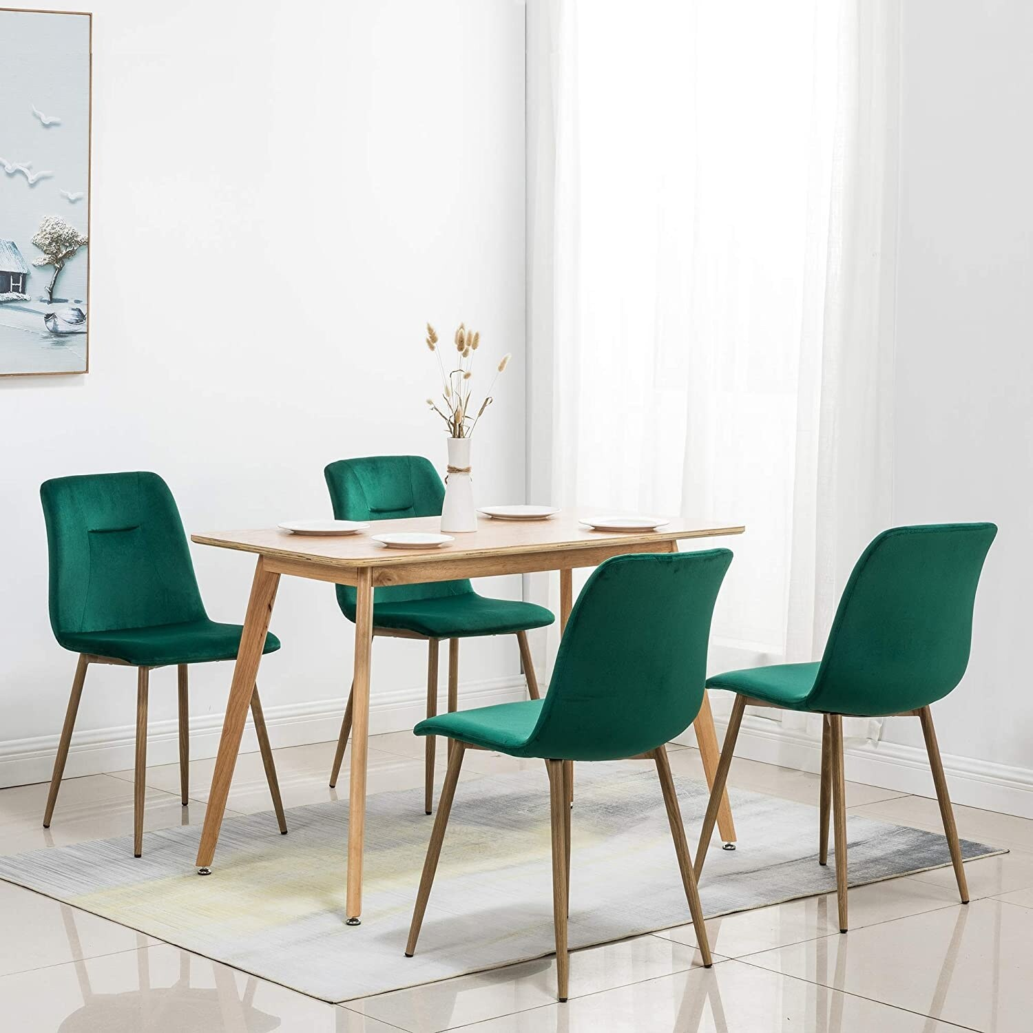 Picture of: Shop Black Friday Deals On Ivinta Modern Living Room Accent Armless Chairs Set Of 4 Velvet Dining Chairs Overstock 31756368 Yellow