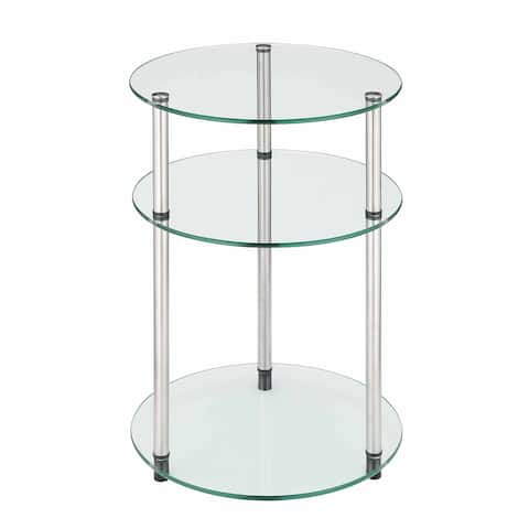 Porch & Den Japonica Glass 3-tier Round Table