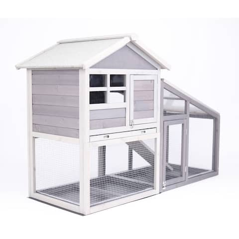 Pawhut Wooden Outdoor White Pet Enclosure Cage with Ramp and Main House