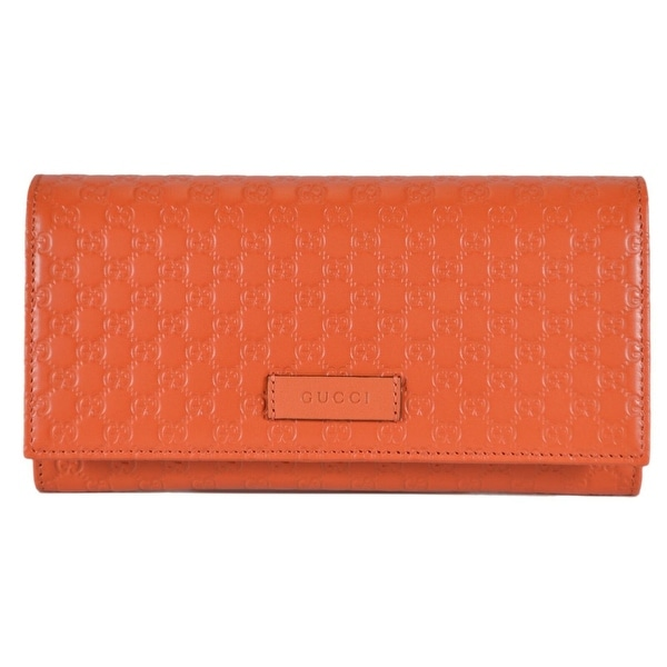 bad122f22ee2 Gucci Women's 449396 Orange Leather Micro GG Continental Bifold Wallet  - 7.5