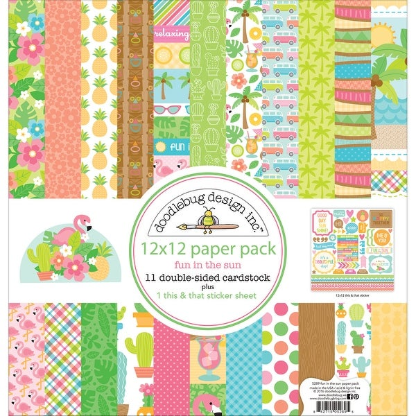 "Doodlebug Double-Sided Paper Pack 12""X12"" 11/Pkg-Fun In The Sun"
