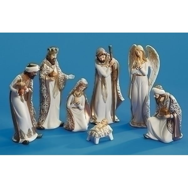 """5.25""""- 8.5"""" Set of 7 White and Gold Religious Nativity Porcelain Christmas Table Top Decorations"""