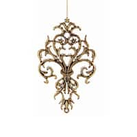 "5"" Decorative Gold Ornate Glittered Scroll Shield Hanging Christmas Ornament"