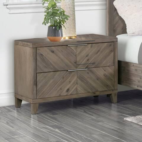 Abbyson Felix Chevron Grey Solid Wood 2-drawer Nightstand