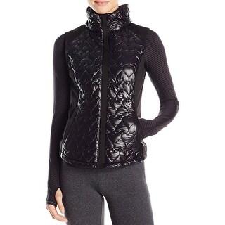 Betsey Johnson NEW Black Quilted Neoprene Hybrid Medium M Vest Jacket