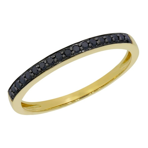 0.75 CT Sterling Silver Round Black Diamond Ladies Wedding Stackable Band Ring