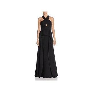 BCBG Max Azria Womens Bryleigh Evening Dress Cross Front Ruffled