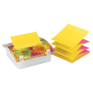 Post-it Pop-up Note Dispenser with Floral Insert, 3 x 3 Inches, Asparagus Color
