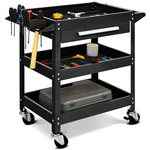 Costway Three Tray Rolling Tool Cart Mechanic Cabinet Storage ToolBox Organizer w/Drawer
