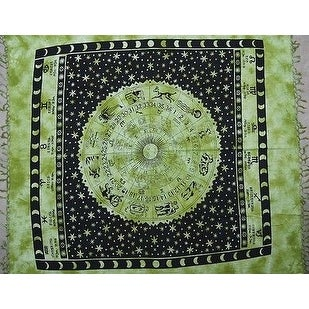 Handmade Cotton Astrological Tapestry Tablecloth Spread Zodiac Symbol Green Gold