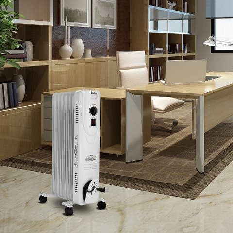 ZOKOP SH-37-7 1500W Oil Heater with Temperature Adjustment / White