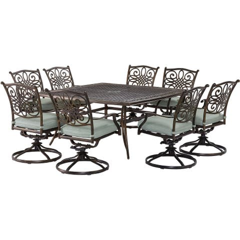 Agio Renditions 9-Piece Set with 8 Swivel Rockers and 60-in. Cast-Top Table, Featuring Sunbrella® Fabric in Mist Blue