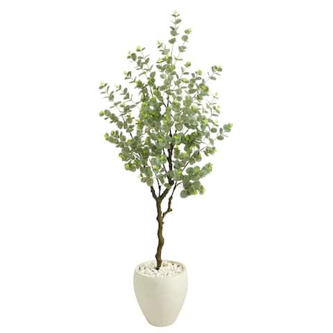 "63"" Eucalyptus Artificial Tree in White Planter - 13"""