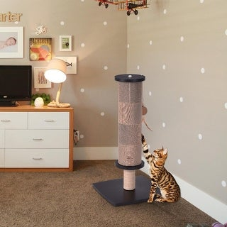 Gymax Cat Scratching Post Tall Activity Tree Cat Scratcher with Funny Toy Black