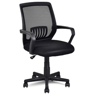 Costway Modern Ergonomic Mid-back Mesh Computer Office Chair Desk Task Task Swivel Black