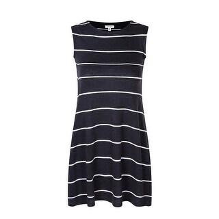 Richie House Little Girls Dark Grey Medium Leisure Striped Knit Dress